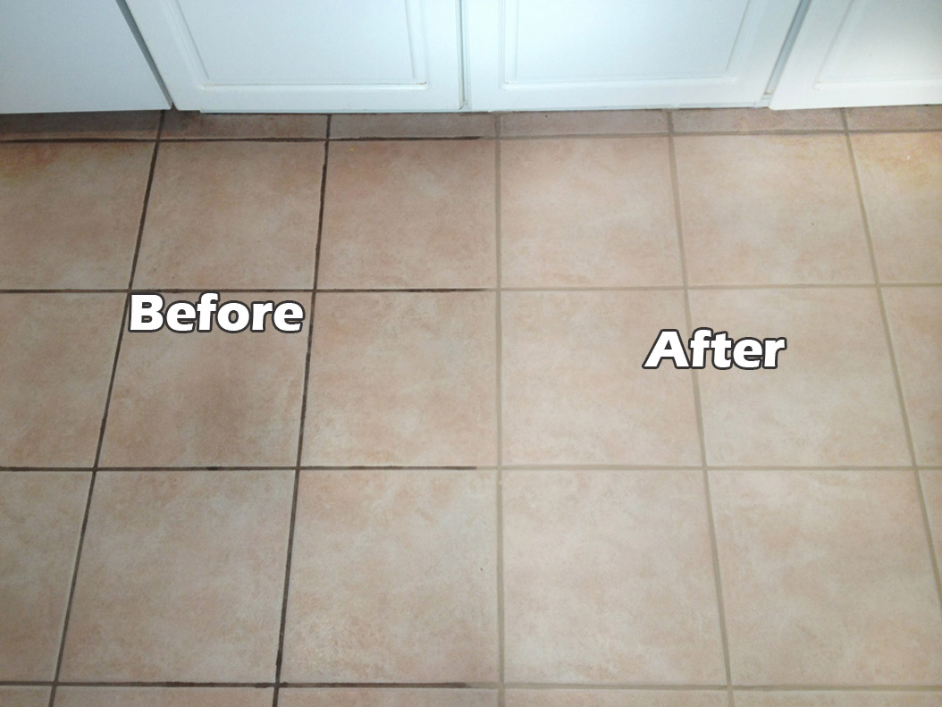 Clean grout with vinegar