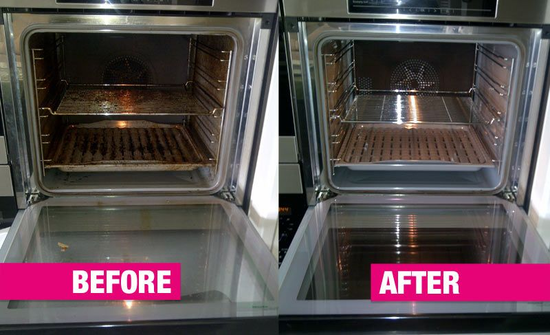 Before and after oven cleaning with vinegar