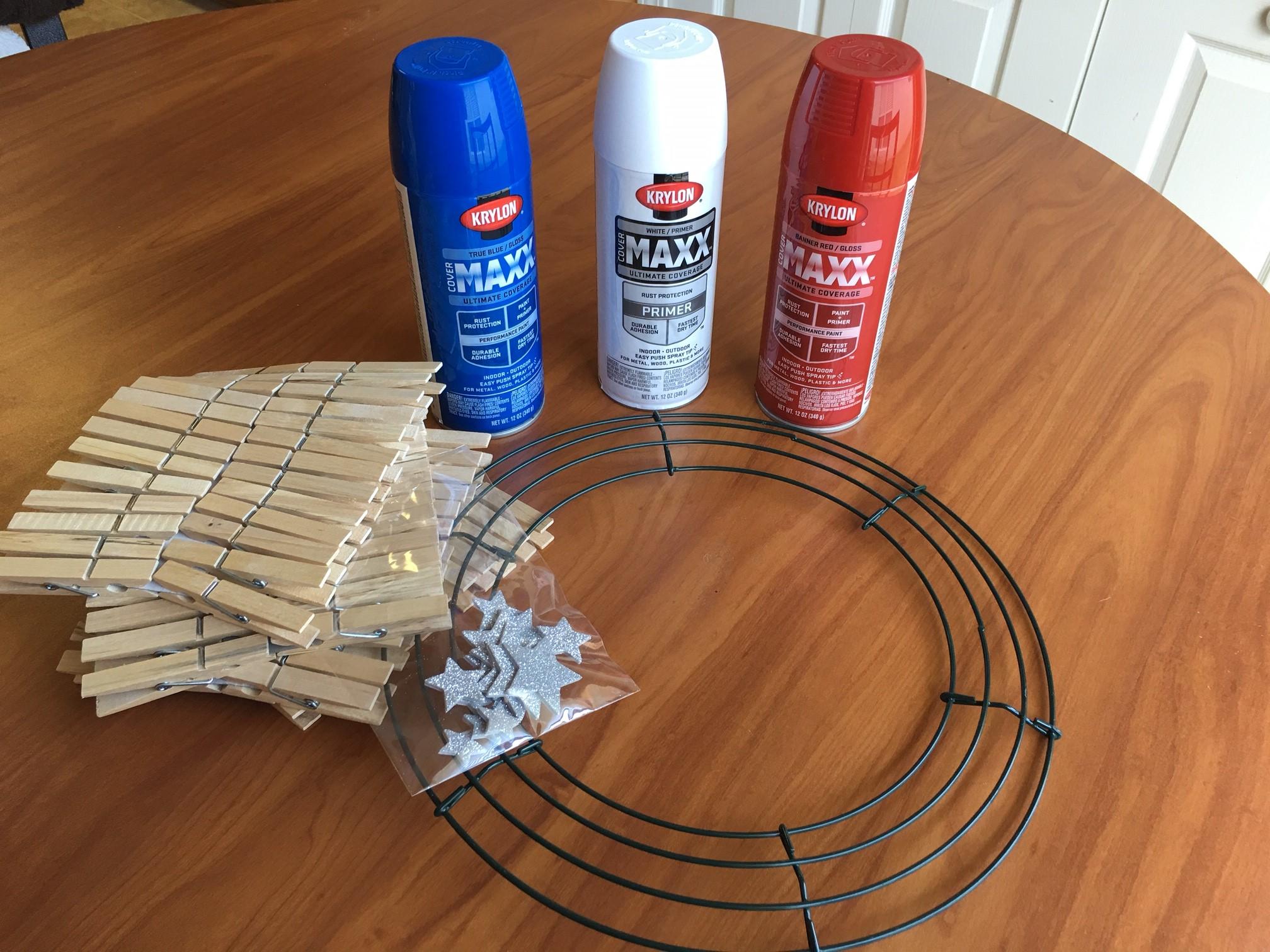 DIY  Easy Patriotic Clothespin Flag Wreath Supplies