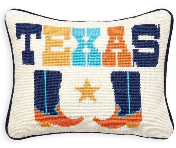 Top apartment decor accessories Texas Needlepoint Throw Pillow_Jonathan Adler