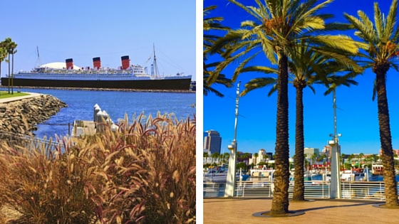 Views of Queen Mary from Downtown Long Beach