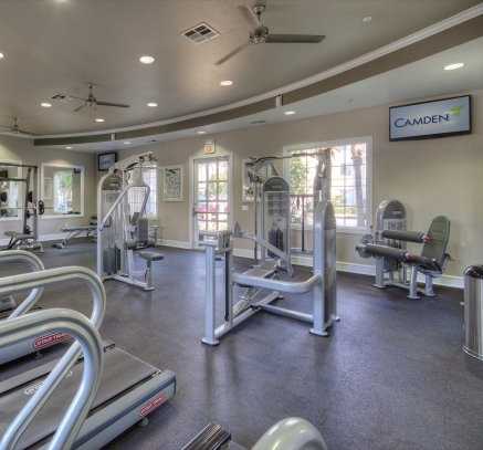Fitness center at Camden Landmark in Ontario, California.